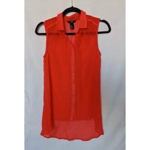 H&M Red Sleeveless Button Up Shirt